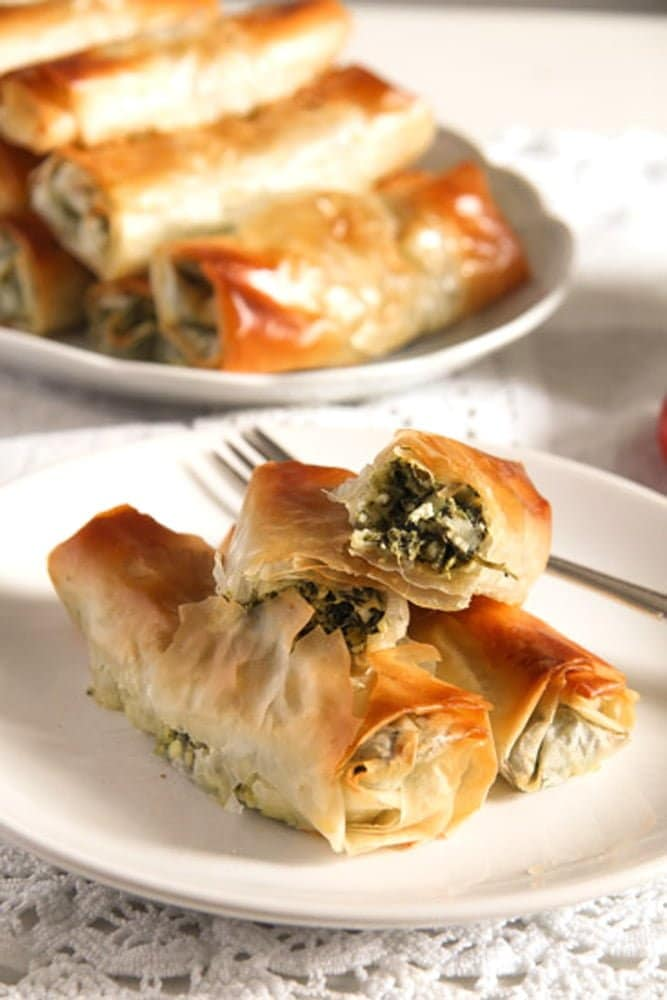 albanian cheese rolls 1 Baked Albanian Spinach Rolls with Feta
