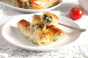 albanian cheese rolls 2 300x200 Crispy Albanian Spinach Rolls with Feta