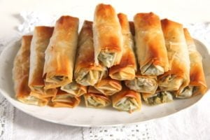 albanian cheese rolls 3 300x200 Crispy Albanian Spinach Rolls with Feta