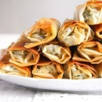 albanian spinach pie with feta and phyllo dough ready to be served