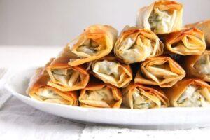 albanian cheese rolls 4 300x200 Crispy Albanian Spinach Rolls with Feta