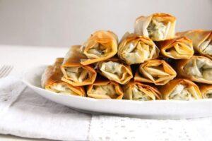 albanian cheese rolls fg 300x200 Crispy Albanian Spinach Rolls with Feta