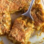 baking dish with chicken pumpkin lasagna
