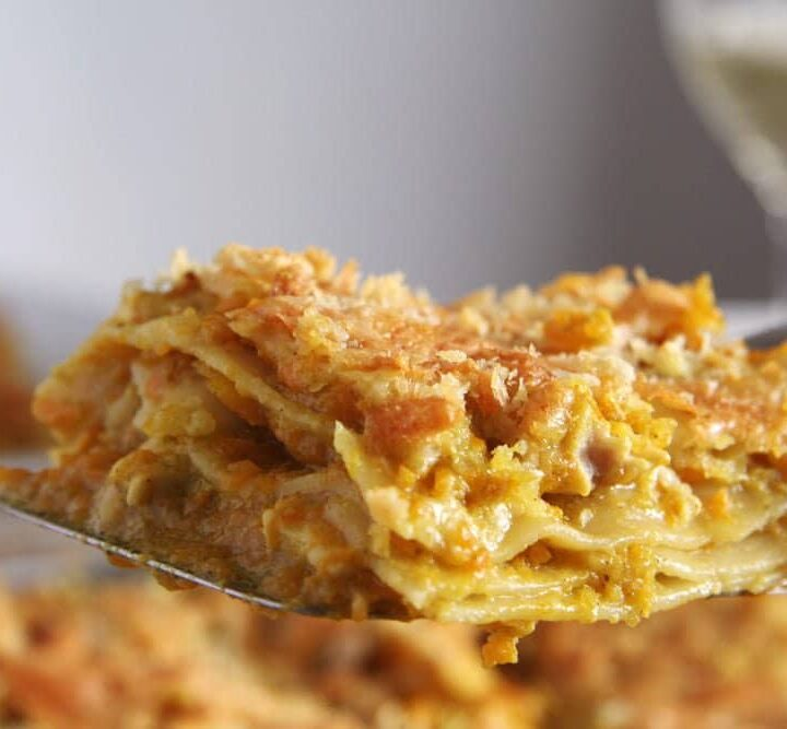 chicken and pumpkin lasagna lifted from the baking dish