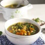 chickpea, broccoli and sweet potato soup in two stapled bowls
