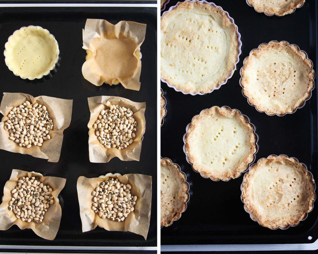 pastry shells blind baked with dried beans