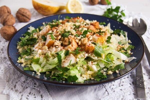 Autumn Pear, Celeriac and Walnut Salad with Cheese