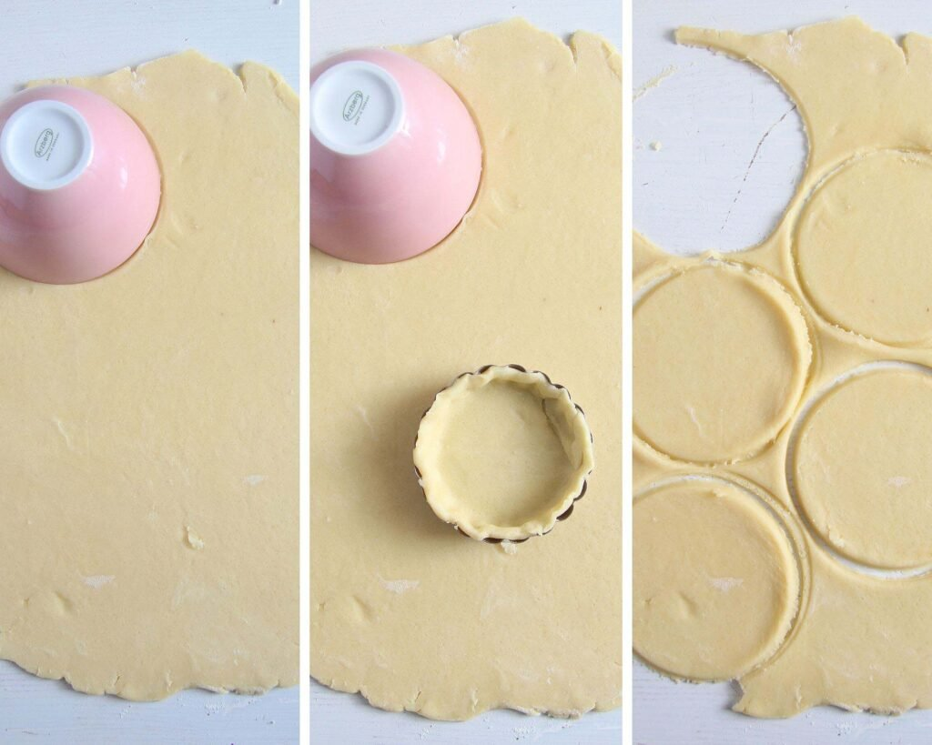 cutting shortcrust pastry with a small pink bowl