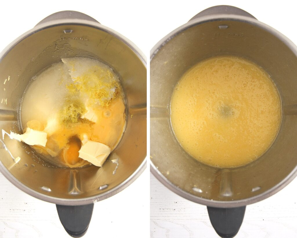 thermomix with butter, lemon juice, sugar and eggs in it