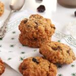 four muesli biscuits with raisins, cranberries and peanut butter