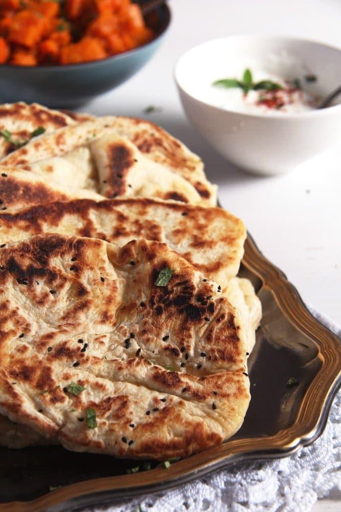 naan bread Soft Afghan Naan Bread with Yogurt and Nigella Seeds