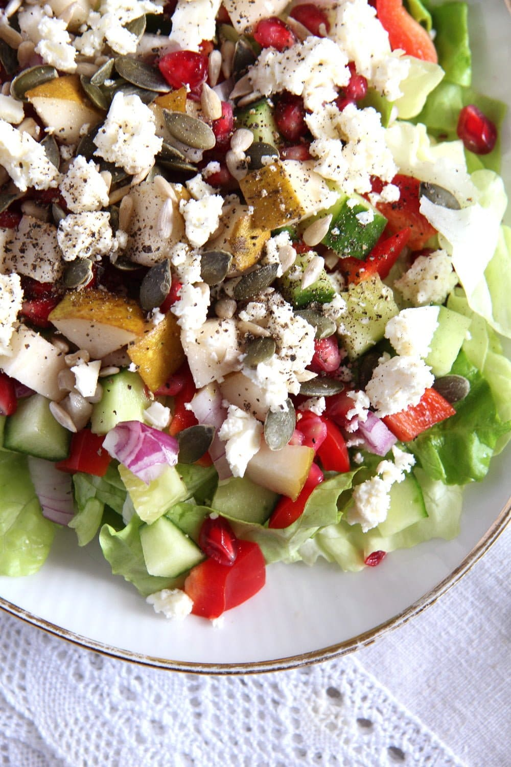 salad pomegranate autumn Autumn Salad with Apples, Pears and Seeds