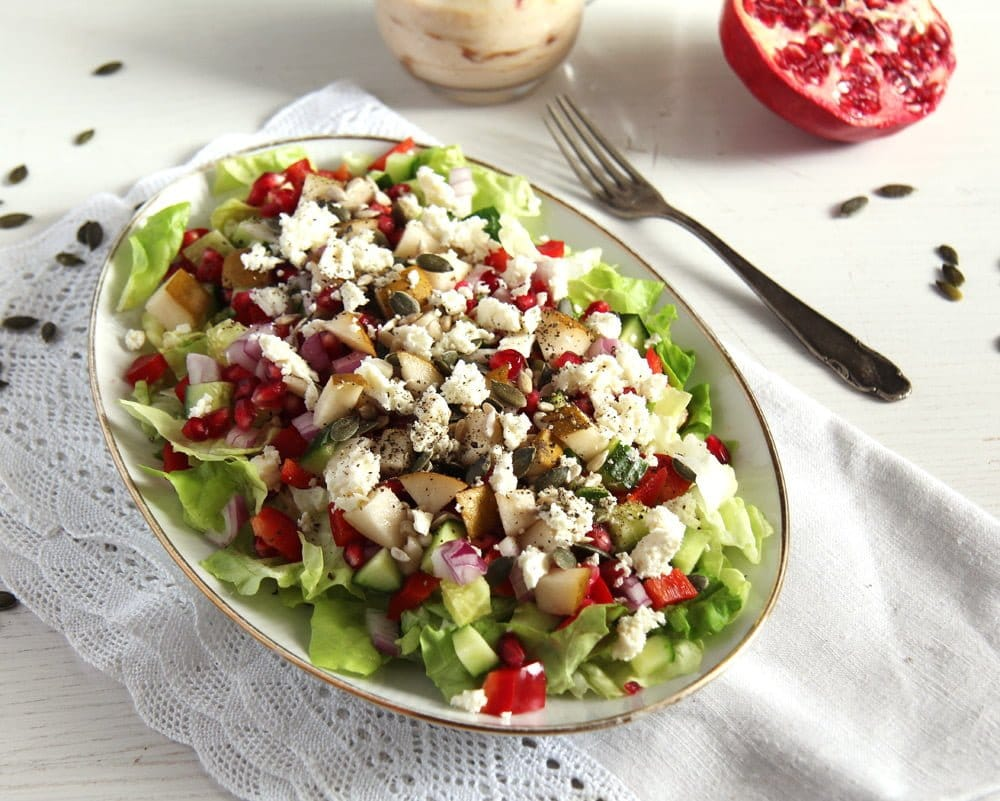 salad pomegranate pears Autumn Salad with Apples, Pears and Seeds