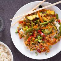 easy vegan stir-fry with soya chunks on a plate