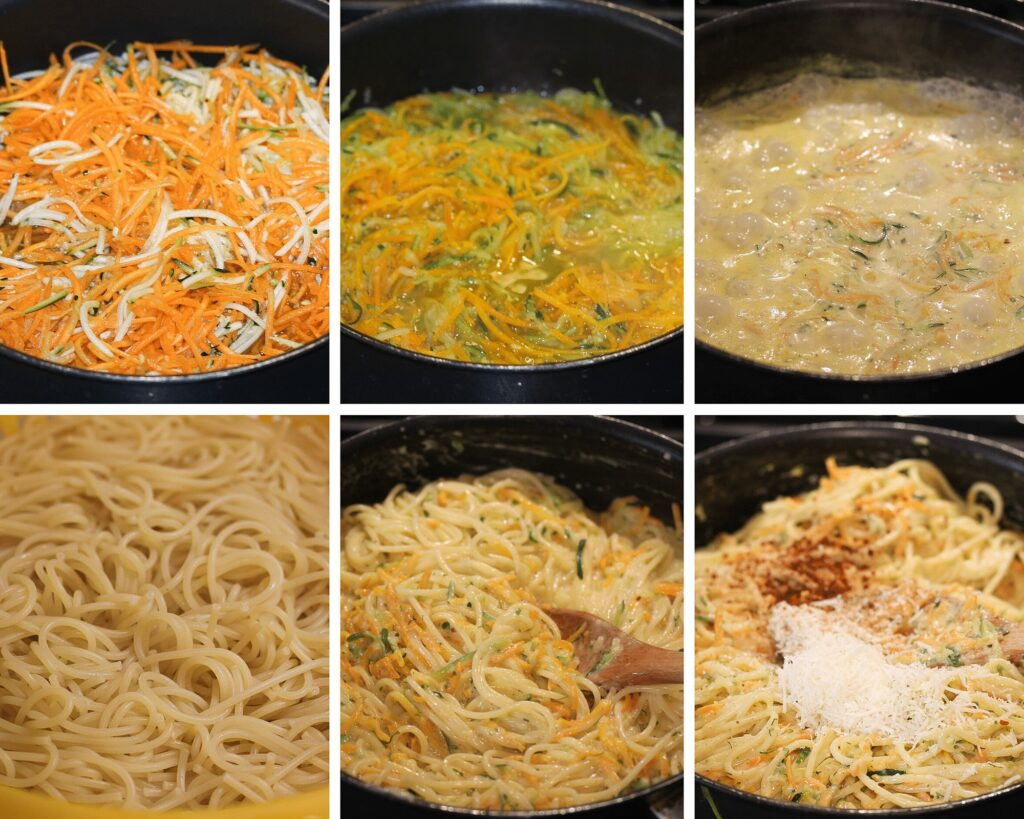 cooking vegetables in cream cheese sauce for spaghetti