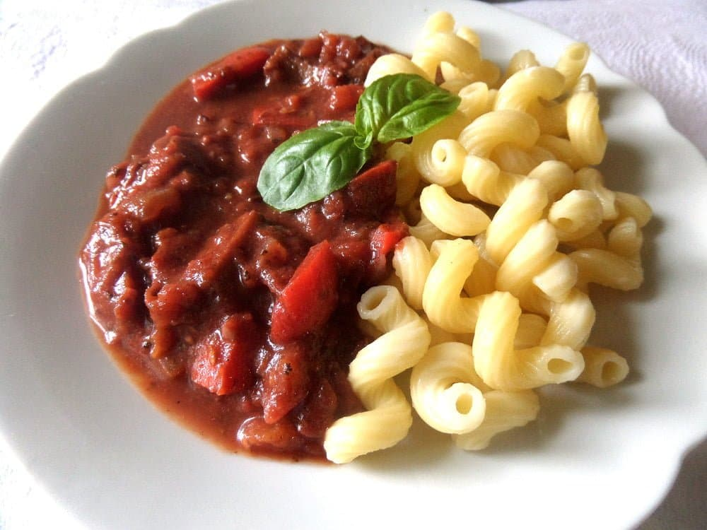 plate with noodles and vegan sauce
