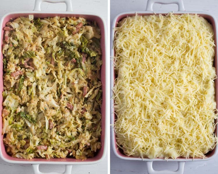 uncooked cabbage and mashed potato bake