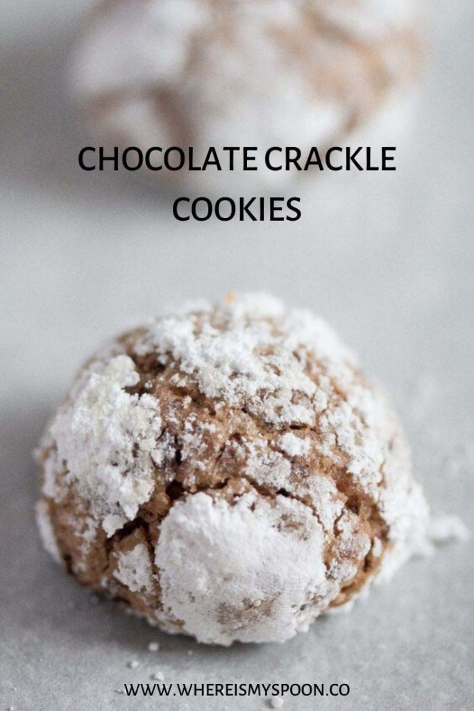 one chocolate crackle cookie on the table