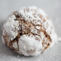 one double chocolate crinkle cookie on the table