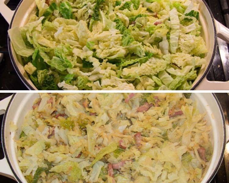 sauteing savoy cabbage with bacon