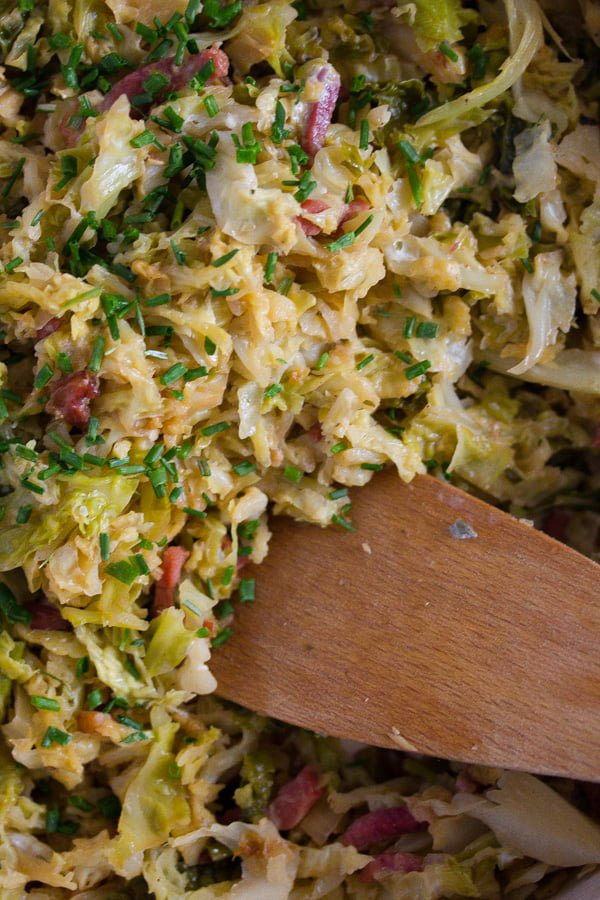 close up sauteed savoy cabbage and bacon