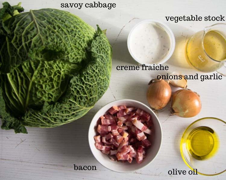 ingredients for sauteed savoy cabbage with bacon