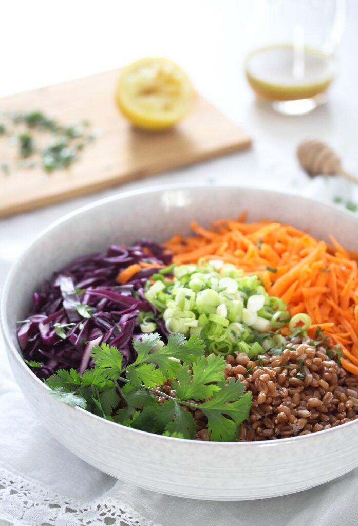 vegetable grain salad with honey dressing