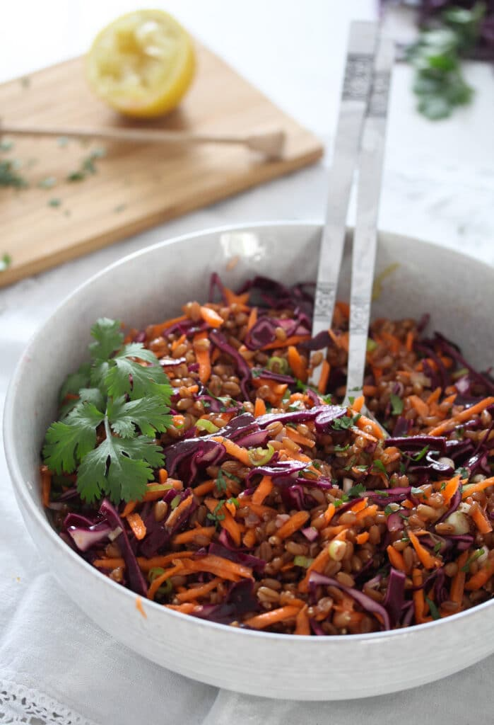ancient grain salad with red cabbage and carrots