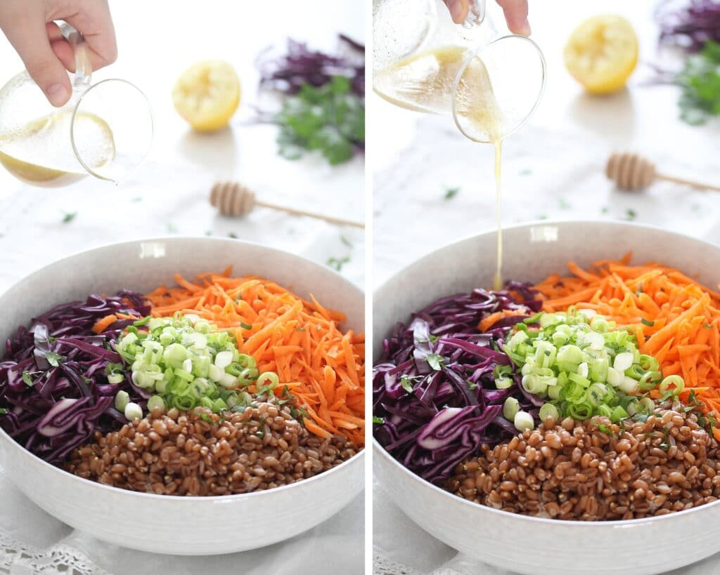 pouring honey lemon dressing in a bowl with vegetables