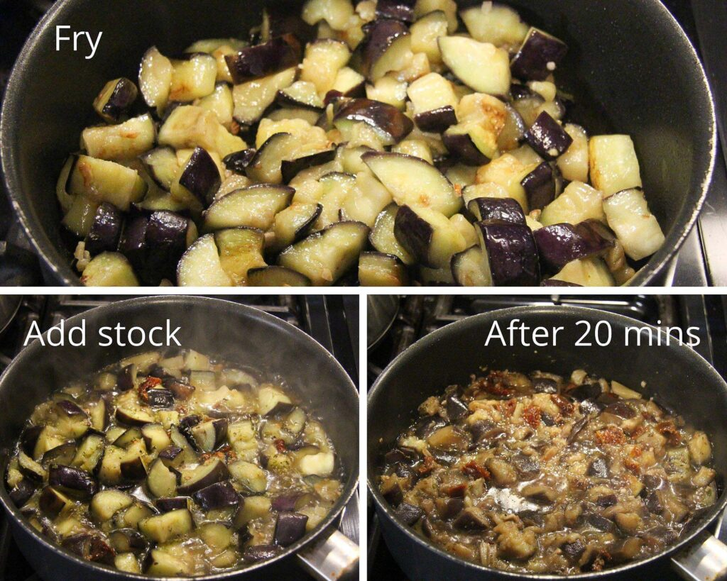 frying aubergine cubes in a non stick pan and making pasta sauce