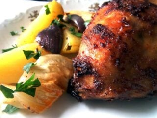 roasted chicken thighs with potatoes
