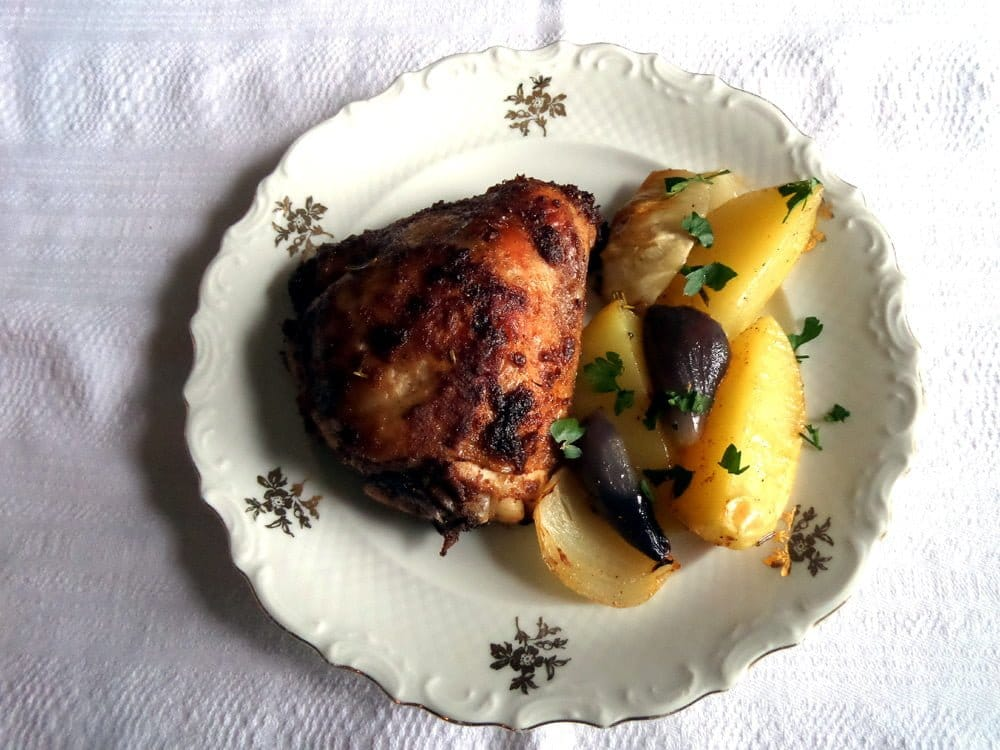 baked chicken thighs and potatoes