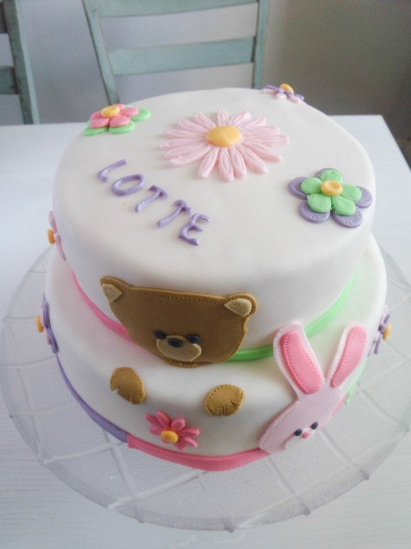 two tiered children cake with fondant
