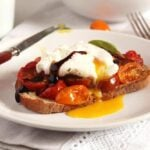poached egg on roasted tomato toast