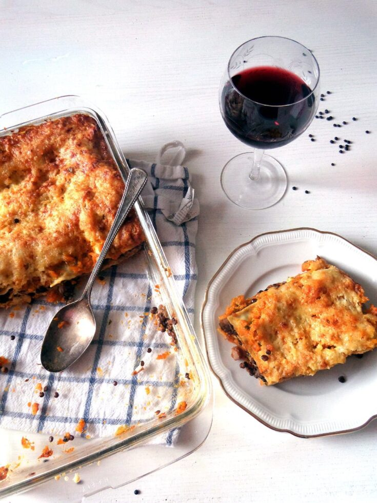 , Butternut Squash Lasagna with Lentils