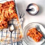 cottage cheese and ricotta lasagna with vegetable in a casserole dish