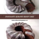bundt cake with chocolate sprinkled with icing sugar