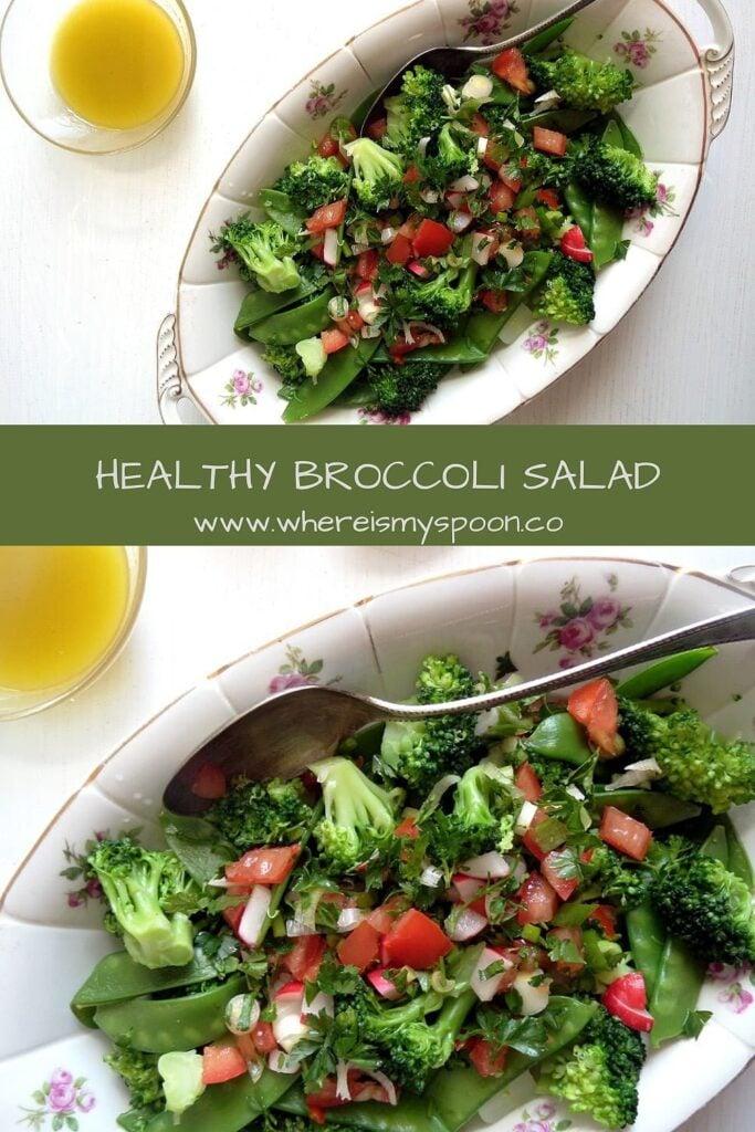 healthy broccoli salad on a serving platter