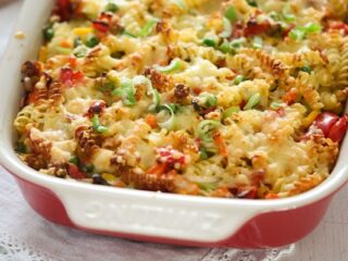 vegetable pasta bake in a casserole dish