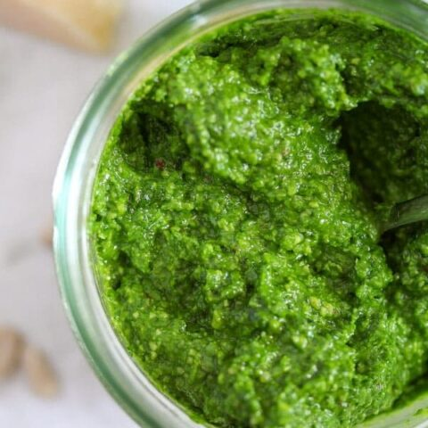 homemade wild garlic pesto with sunflower seeds