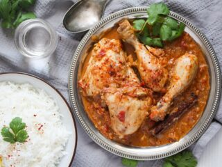 balti dish served with basmati rice