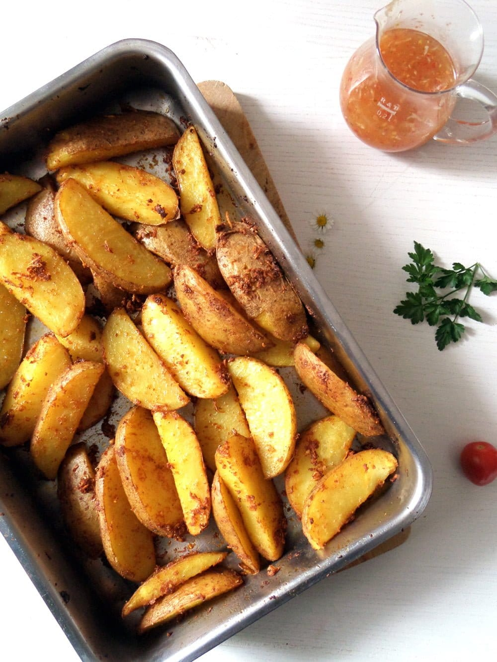 potato wedges sweet chili g Crispy Baked Cornmeal Potatoes with Paprika