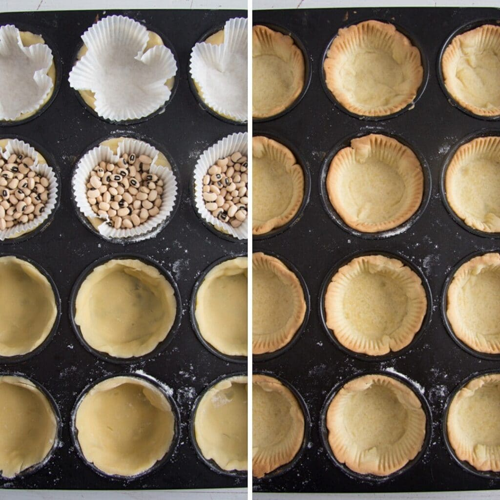 how to blind bake pastry shells for mini tarts