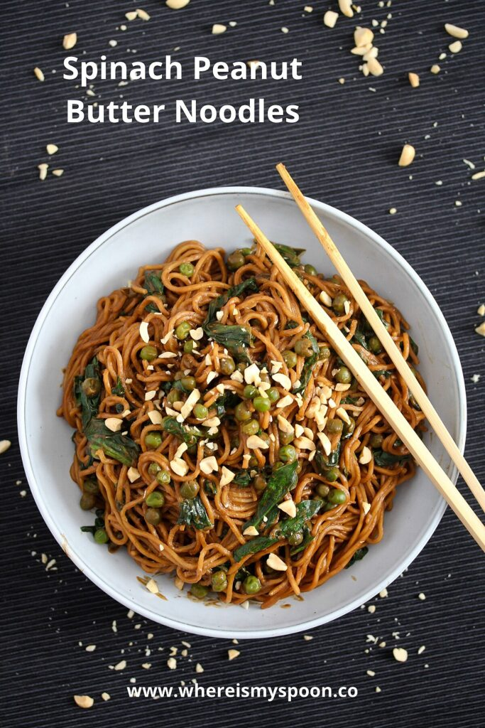 soy sauce spinach and peanut butter sauce for noodles
