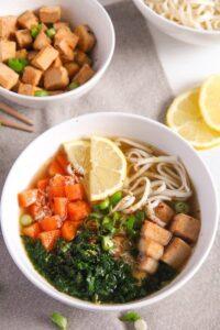 tofu noodles soup 1 200x300 Soba Noodles Tofu Soup with Limes, Carrots and Kale