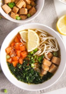 tofu noodles soup 2 213x300 Soba Noodles Tofu Soup with Limes, Carrots and Kale