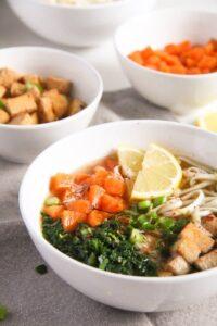tofu noodles soup 5 200x300 Soba Noodles Tofu Soup with Limes, Carrots and Kale