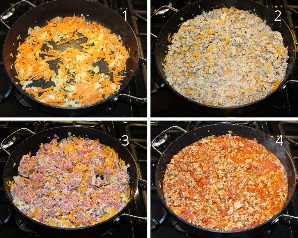 frying vegetables, ground meat and making bolognese sauce