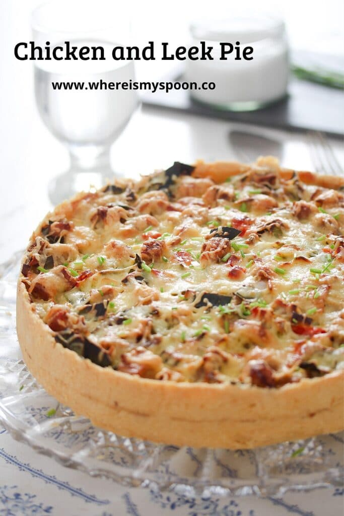 serving leek pie with leftover chicken and peppers