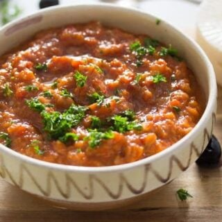 ajvar dip in a traditional bowl